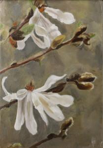 70White Magnolias Miniature18x12